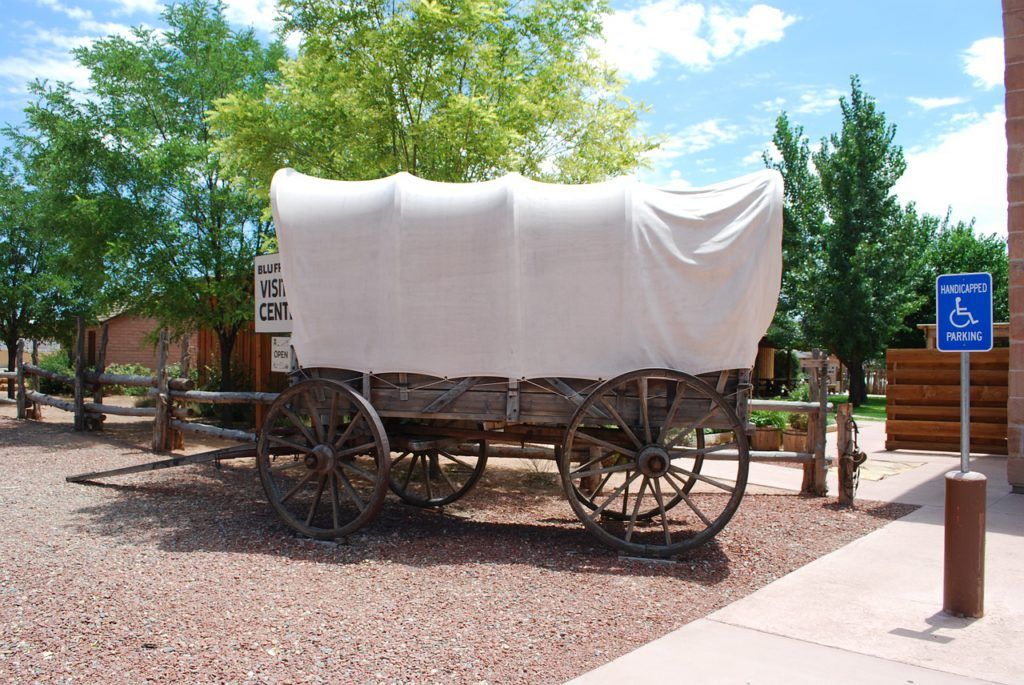 Covered wagon in a modern setting